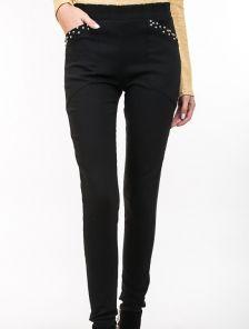 Черные брюки с тонким начесом с эластичного материала