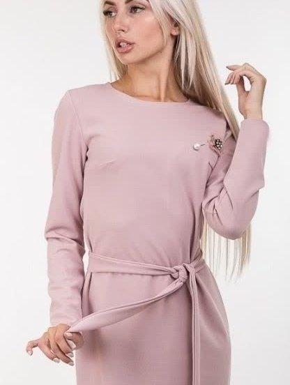 Розовое платье-футляр с длинным рукавом, фото 1