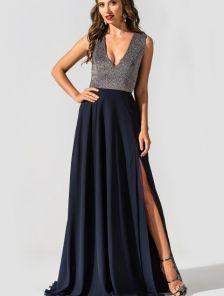 Элегантное вечернее платье с двойной шифоновой юбкой и разрезом