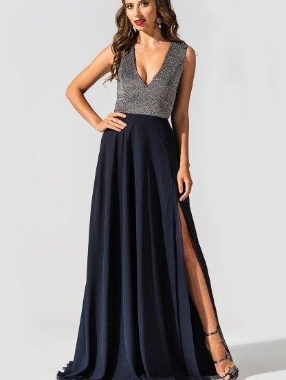 Элегантное вечернее платье с двойной шифоновой юбкой и разрезом, фото 1