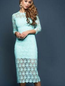 Кружевное платье-футляр мятного цвета