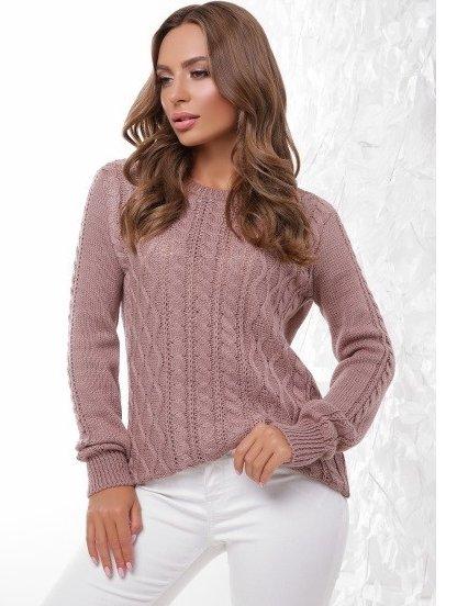 Теплый женский зимний свитер с фигурной горловиной и фактурной вязкой, фото 1