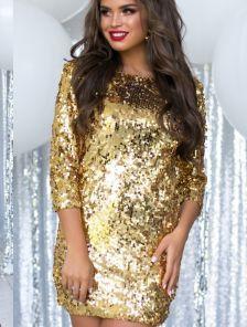 Короткое золотое мини платье для встречи Нового года