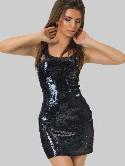 Черное клубное мини платье с пайеткой, фото 1