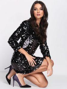 Черное вечерне мини-платье с пайетками