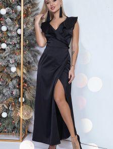 Платье длины макси на запах с оборкой черного цвета