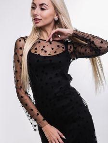 Черное нарядное платье майка с ажурной сеткой на длинный рукав