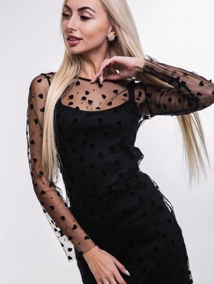 Черное нарядное платье майка с ажурной сеткой на длинный рукав, фото 1