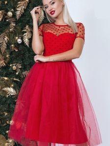 Красное платье-длины миди из сетки с флоковым напылением с коротким рукавом