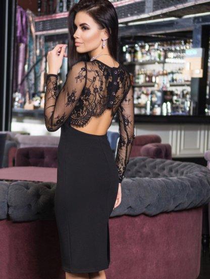 Вечернее черное платье с кружевной спинкой приталеного силуета, фото 1