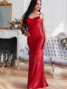 Красное вечернее платье с открытой спиной вышитое пайетками