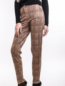 Коричневые брюки в клеточку с карманами