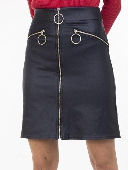 Темно-синяя юбка-трапеция из кожзама с карманами, фото 1