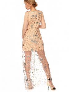 Вечернее светлое платье с вышивкой и паеткой