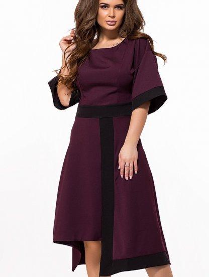 Платье с асимметричной юбкой и рукавами-воланами цвета марсал, фото 1