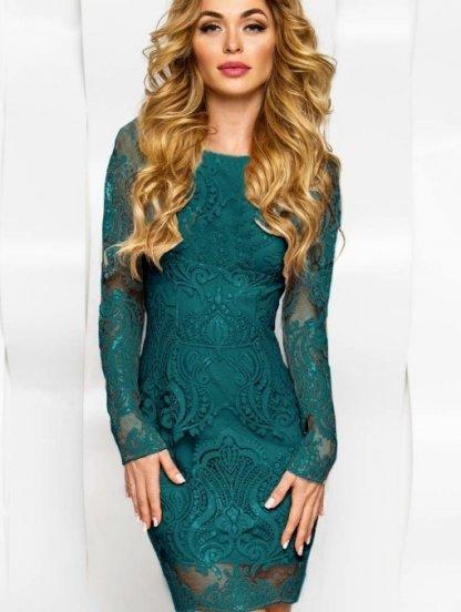 Изумрудное нарядное платье с пайетками, фото 1