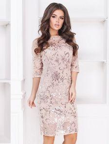 Блестящее вечернее платье с пайеткой на сетке