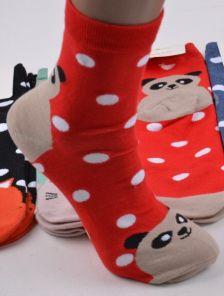 Длинные красные носки в горошек с мордочками
