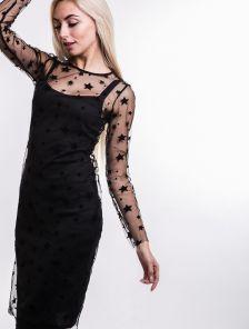 Черное облегающее платье майка с ажурной накидкой в звездочки