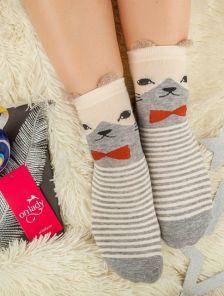 Длинные теплые носочки в полосочку с котиком