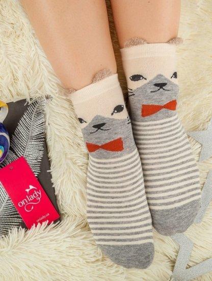 Длинные теплые носочки в полосочку с котиком, фото 1