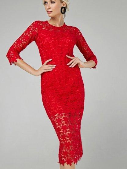 Кружевное красное платье-футляр длины миди, фото 1