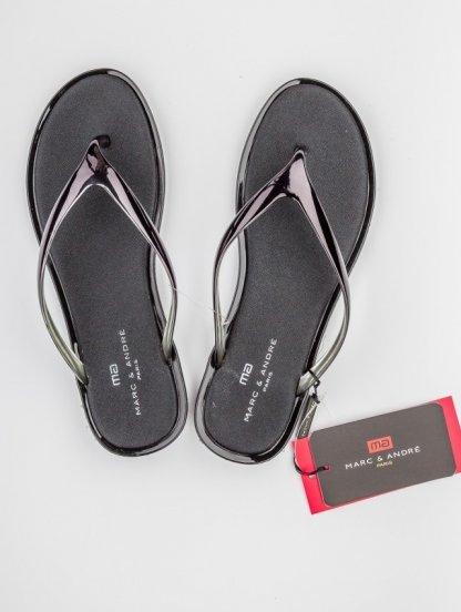 Летние силиконовые шлепанцы черного цвета Marc & Andre, фото 1