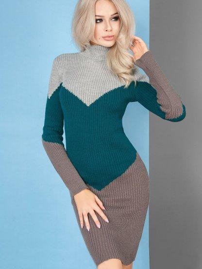 Повседневное трехцветное облегающее платье-гольф с добавлением шерсти, фото 1