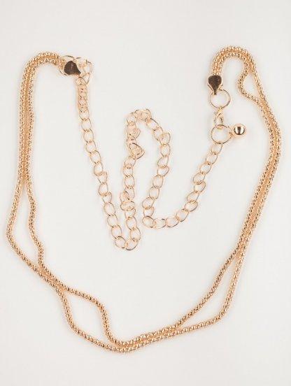 """Изящный золотистый пояс-цепочка с двойным плетением """"перлина"""", фото 1"""