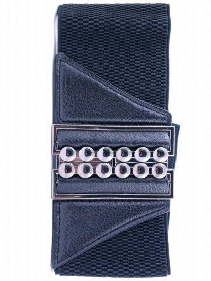 Широкий ремень-резинка черного цвета с красивой пряжкой, фото 1