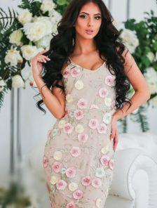 Платье с цветочным принтом на тонких бретелях
