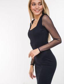 Черное вечернее платье с рукаво-сеткой