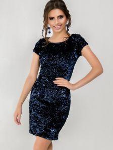 Приталеное платье с пайеткой в синем цвете