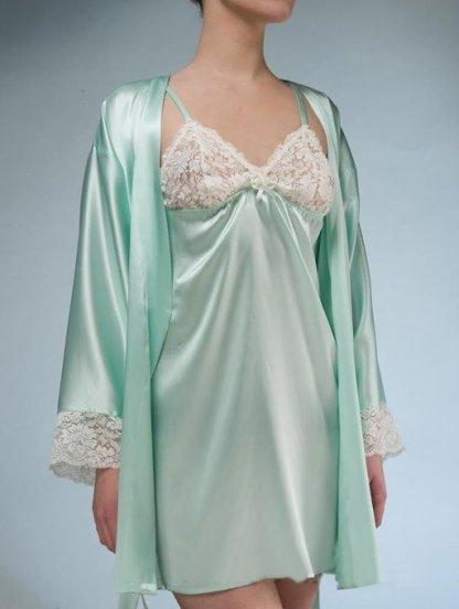 Ночная сорочка из натурального шёлка в нежном мятном цвете, фото 1