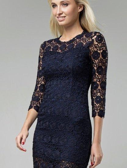 Кружевное темно-синее платье-футляр длины миди, фото 1