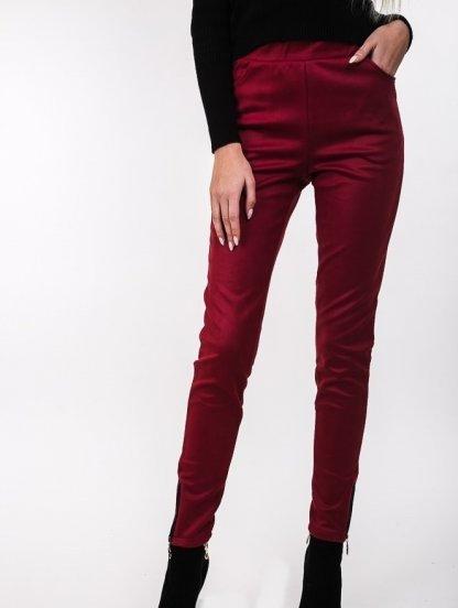 Бордовые брюки с эко-замши на широкой резинке с карманами, фото 1