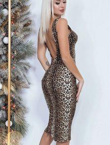 Платье-футляр длины миди с