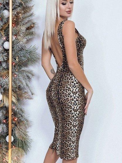 """Платье-футляр длины миди с """"леопардовым"""" принтом, фото 1"""
