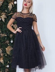 Черное платье-миди из сетки с флоковым напылением и пышной юбкой