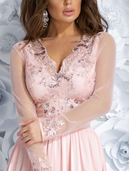 Коктейльное розовое платье с кружевным верхом и юбкой шелк армани, фото 1