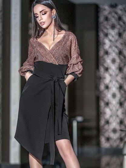 Платье-костюм в бежево-черных тонах с рукавом 3\4 с имитацией запаха, фото 1