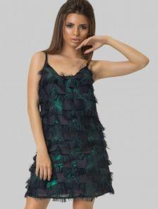 Яркое платье для вечеринки мини длинны с бахромой