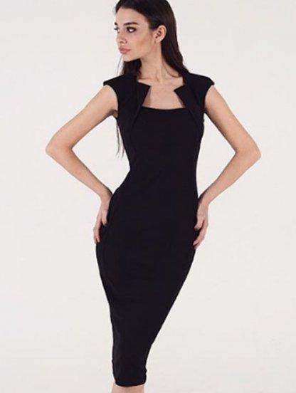 Черное платье-футляр с интересным вырезом на горловине, фото 1