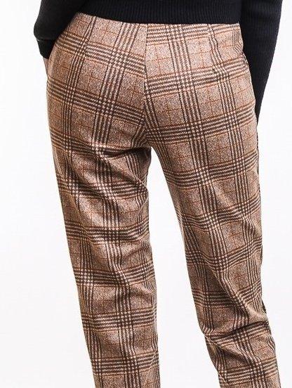 Коричневые брюки в клеточку с карманами, фото 1