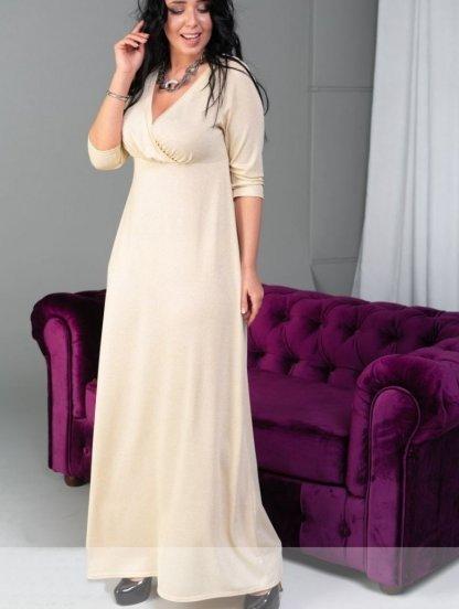 Нарядное длинное платье с рукавом в больших размерах, фото 1