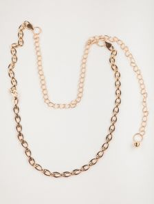 Изящный золотистый пояс-цепочка с комбиннированным декоративным плетением