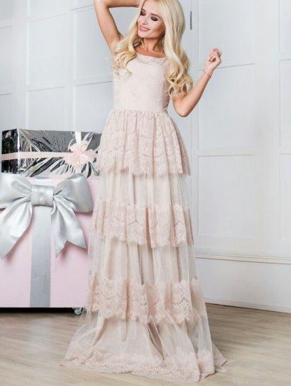 Вечернее платье цвета пудры из воздушного кружева, фото 1