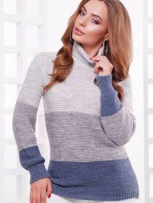 Шерстяной вязаный свитер под горло серо-голубой