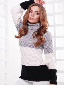 Шерстяной вязаный свитер под горло черно-серый