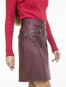 Бордовая юбка-трапеция из кожзама с карманами